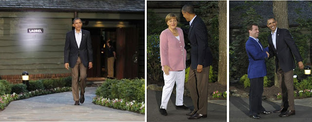 Obama, Merkel, Medvedev at Camp David G8 Summit