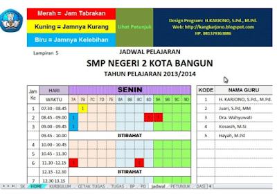 Aplikasi Jadwal Pelajaran Anti Bentrok Excel Jenjang SD SMP SMA