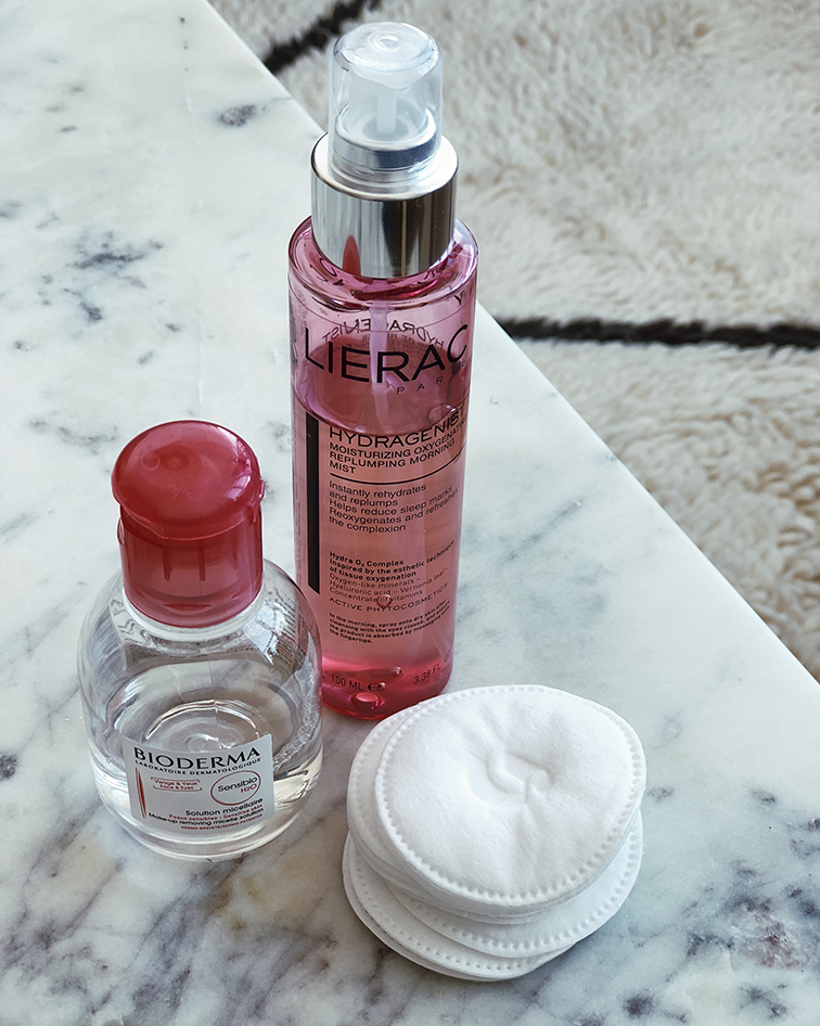 Bioderma micellar water, Lierac hydragenist moisturizing oxygenations replumping morning mist, glossier cotton rounds
