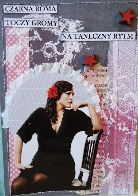 kartka konkursowa, Czarna Roma i rytm, zabawa literowa