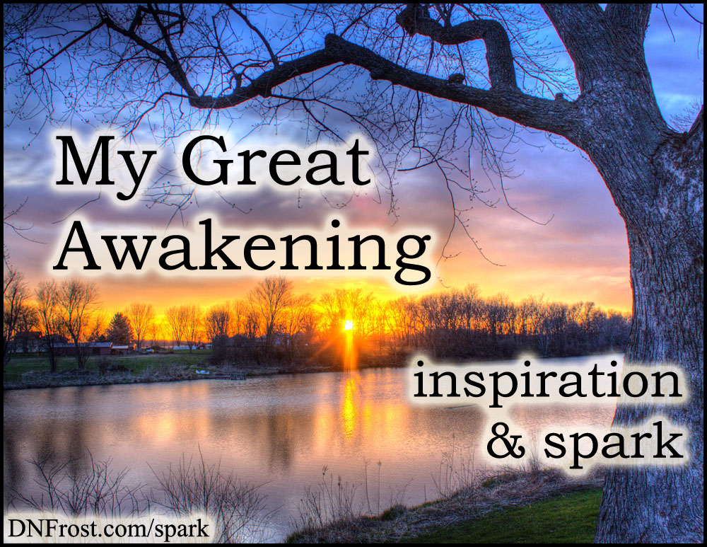 My Great Awakening: self-recognition changed my life http://www.dnfrost.com/2017/05/my-great-awakening-inspiration-spark.html #TotKW Inspiration and spark by D.N.Frost @DNFrost13 Part 2 of a series.