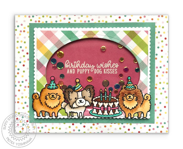 Sunny Studio Stamps Party Pups Pomeranian & Papillon Birthday Wishes & Puppy Dog Kisses Shaker Card