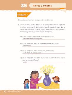 Respuestas Apoyo Primaria Desafíos matemáticos 3ro. Grado Bloque III Lección 35 Flores y colores