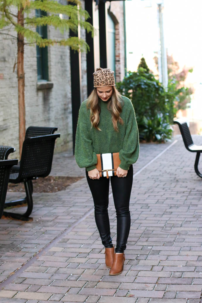 leopard beanie outfit, leather leggings outfit, girl(ish), the girlish blog, amanda sumner, spartanburg blogger