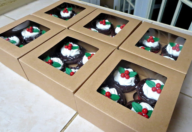 Christmas Holly Berry Chocolate Peppermint Cupcakes - Boxed