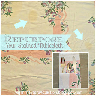 Repurposed tablecloth flatware pockets