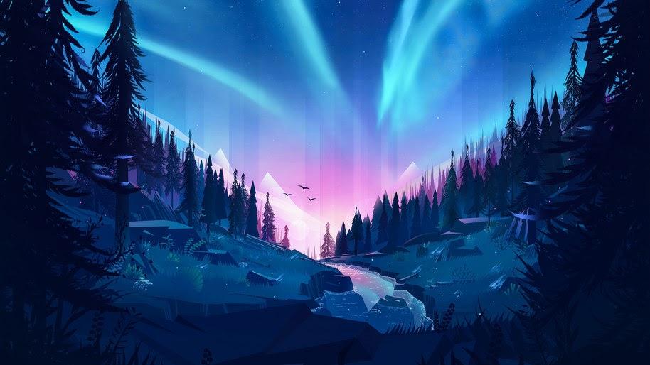 Aurora Borealis, Forest, Scenery, River, Digital Art, 4K, #124