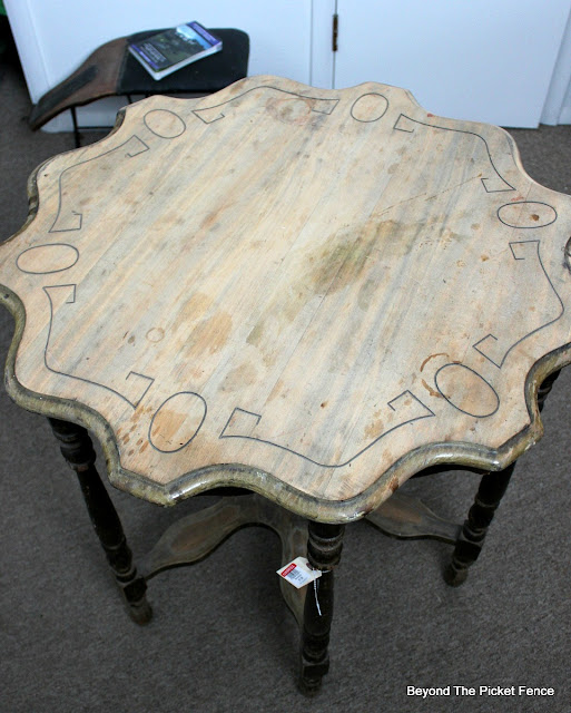 before photo of funky vintage foyer table