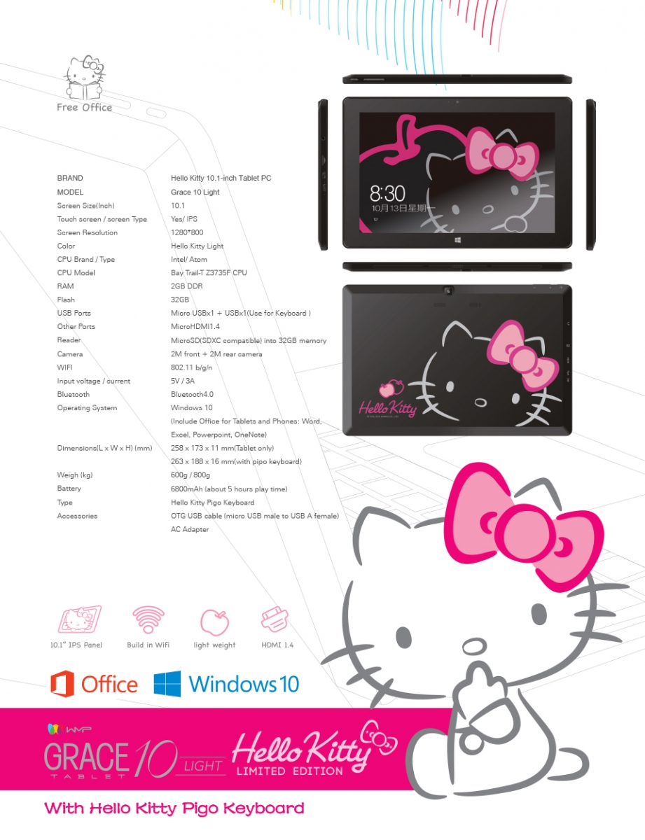 Grace 10 Lighto Kitty Limited Edition Windows 10 Tablet Onlywilliam