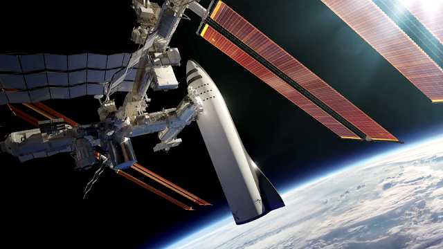 SpaceX BFR spaceship docked to ISS