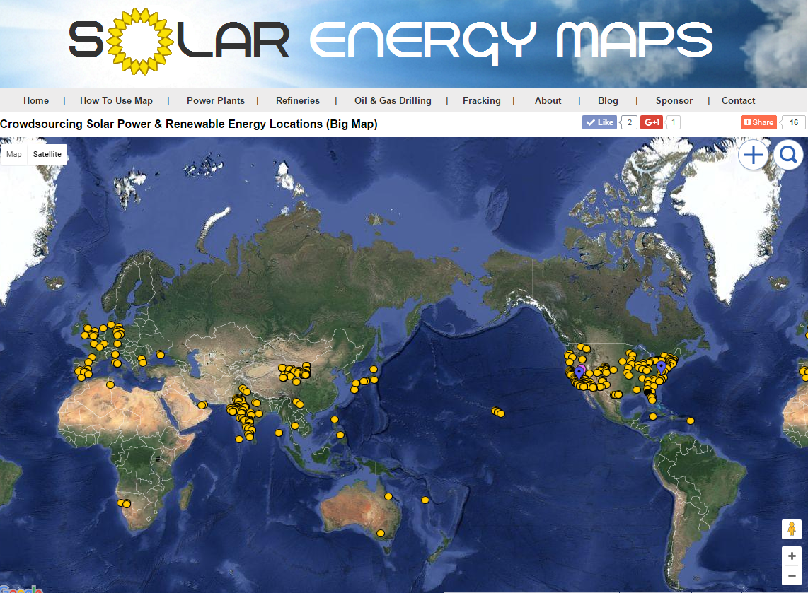 Solar Energy Maps | Solar Farms, Parking Lots & Roofs Near You: Map ...