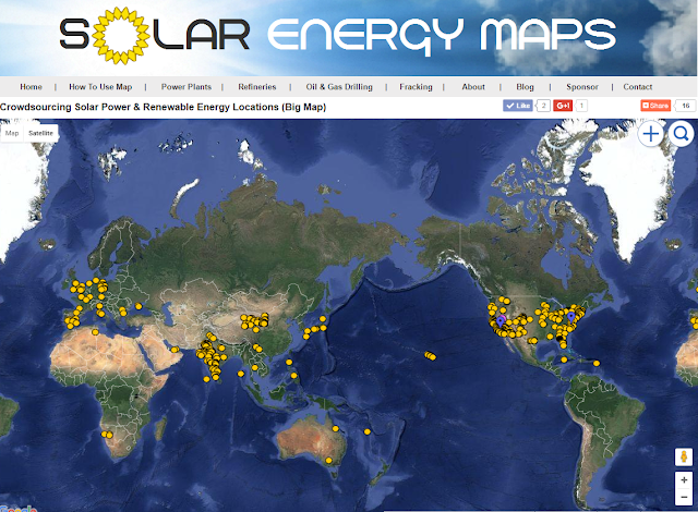 Map of Solar Farms in the United States, India, Europe, Australia, Africa and South America.