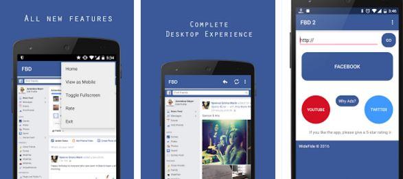 تطبيقين يمكنانك من تصفح الفيسبوك كما في الحاسوب تماما بحجم صغير جدا
