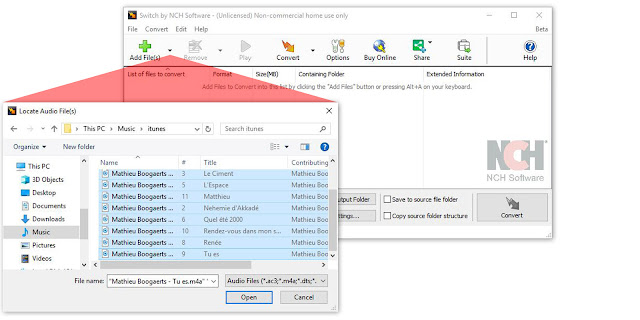 An image demonstrating how to import M4A files into Switch to convert to MP