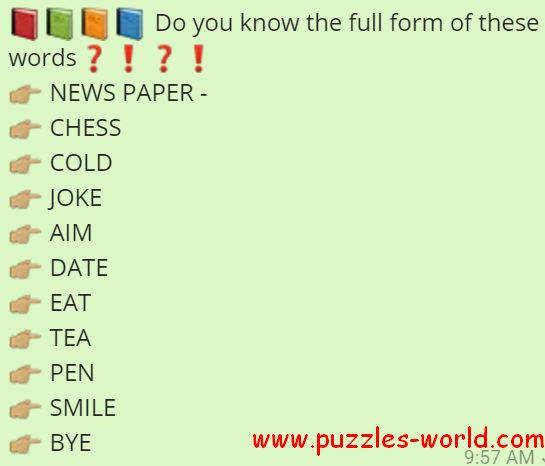 Do you know the full form of these words