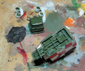 Painting he green bits