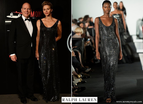 Princess Charlene wore Ralph Lauren Sequin Gown from Fall Winter 2017-18 Collection