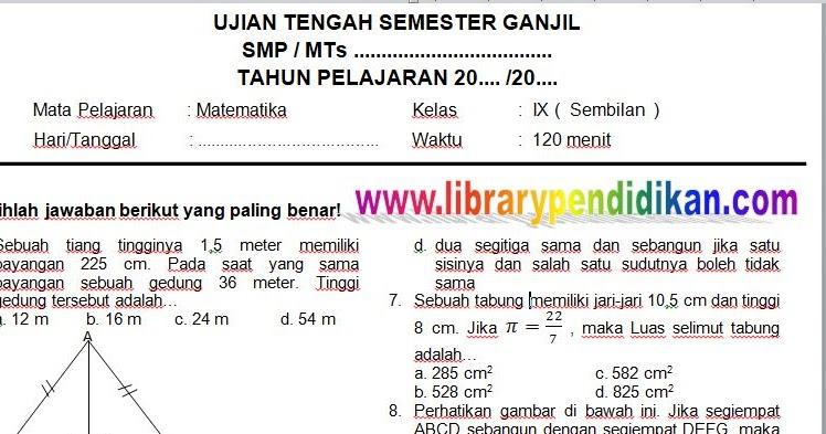 Download Gratis Soal Dan Kunci Jawaban Uts Matematika Smp Mts Kelas Ix 9 Semester Ganjil Library Pendidikan