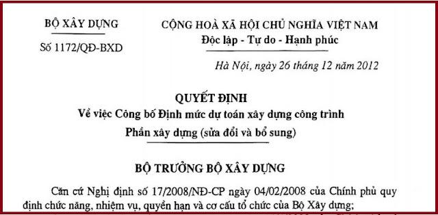 Quyết định số 1172/QĐ-BXD  năm 2012 về sửa đổi, bổ sung định mức 1776.