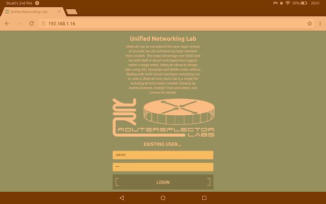 UNetLab on tablet