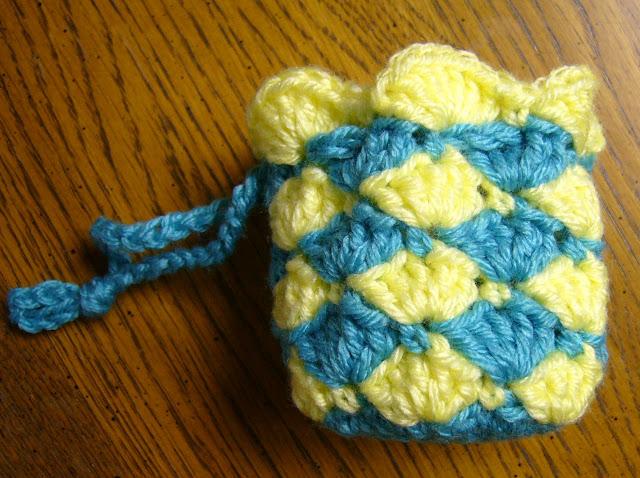 Shell stitch crochet drawstring bag.