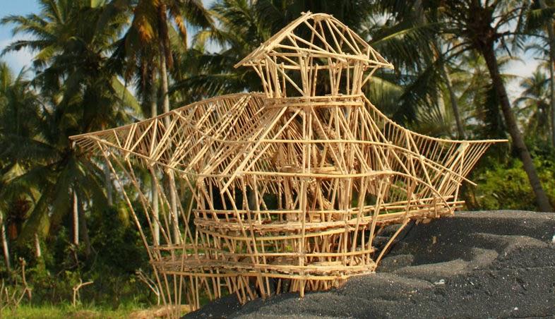 Maquete de estrutura para construção em bambu
