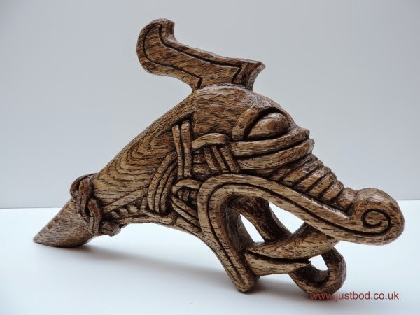 Hedeby hand carved Viking dragon head by bod
