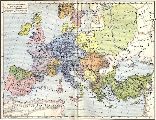 O Sacro Império (em azul) no fim do reinado de Othon I