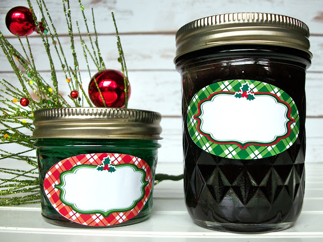 Plaid Red & Green Christmas Oval Canning Jar Labels