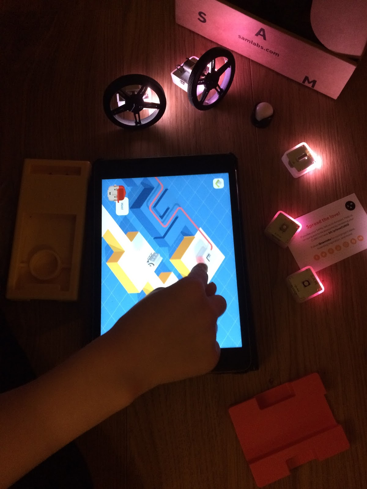 Caitlin connecting the SAMs blocks via the app