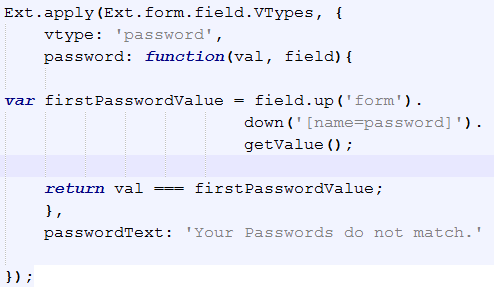 Ext Js Validating Password and Confirm Password Field