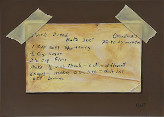 Small trompe l'oeil painting of a shortbread cookie recipe card