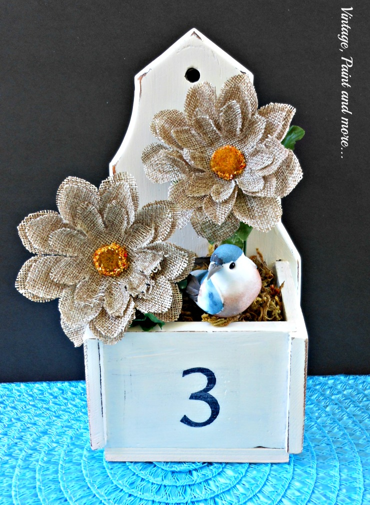 Vintage, Paint and more.. #3 stenciled vintage box painted with chalk paint and filled with burlap flowers