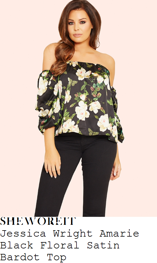 vicky-pattison-jessica-wright-amarie-black-cream-and-green-rose-floral-print-off-the-shoulder-bardot-neckline-three-quarter-sleeve-satin-top