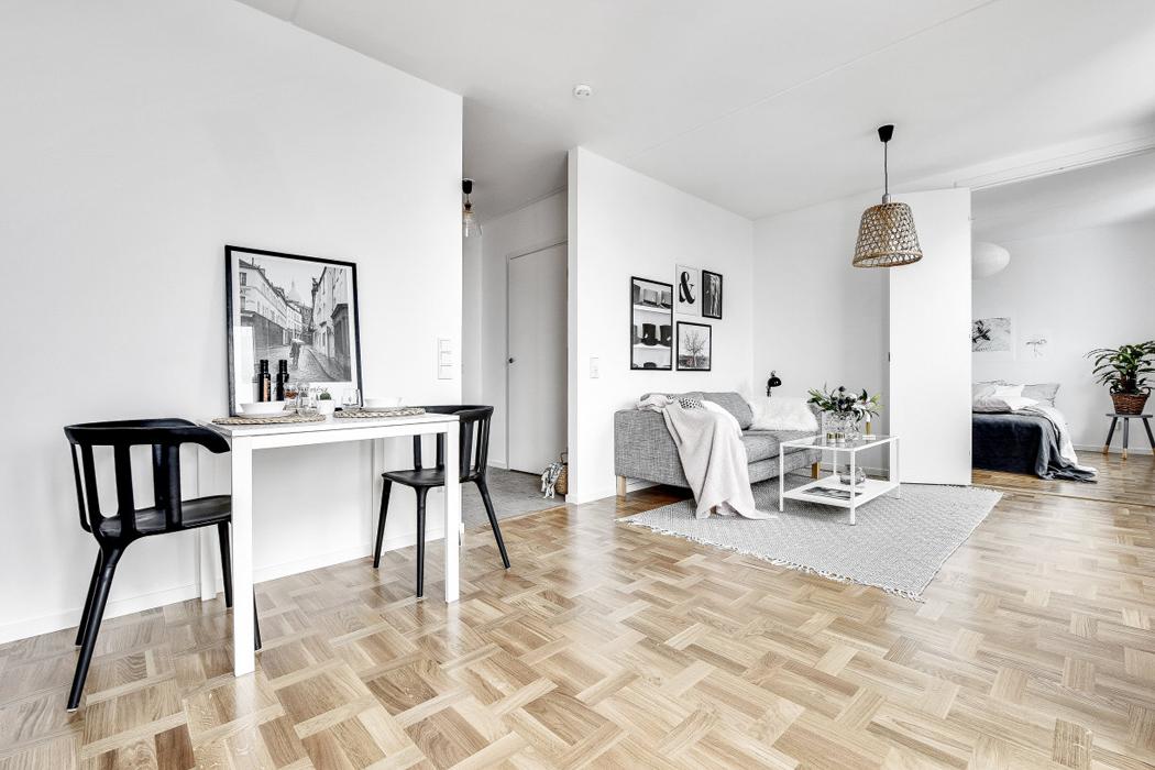 comedor apartamento decoracion blanco y negro