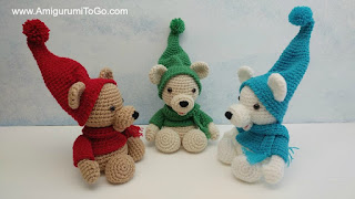 crochet bears wearing hats and scarves