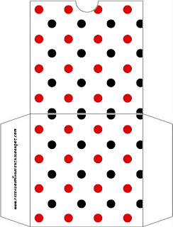 Red Polka Dots in Black and White Free Printable CD Case.