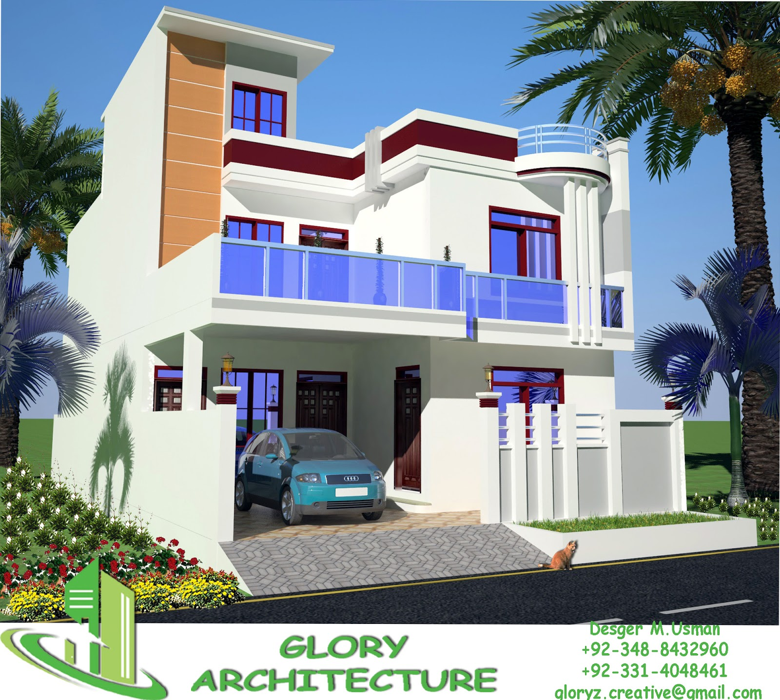 30x60 house plan elevation 3d view drawings pakistan for Home garden design in pakistan
