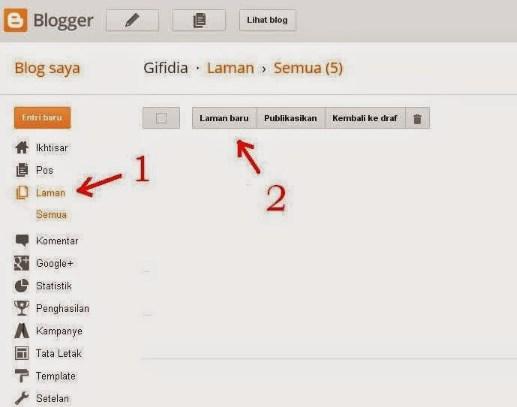 cara membuat halaman statis di blogspot