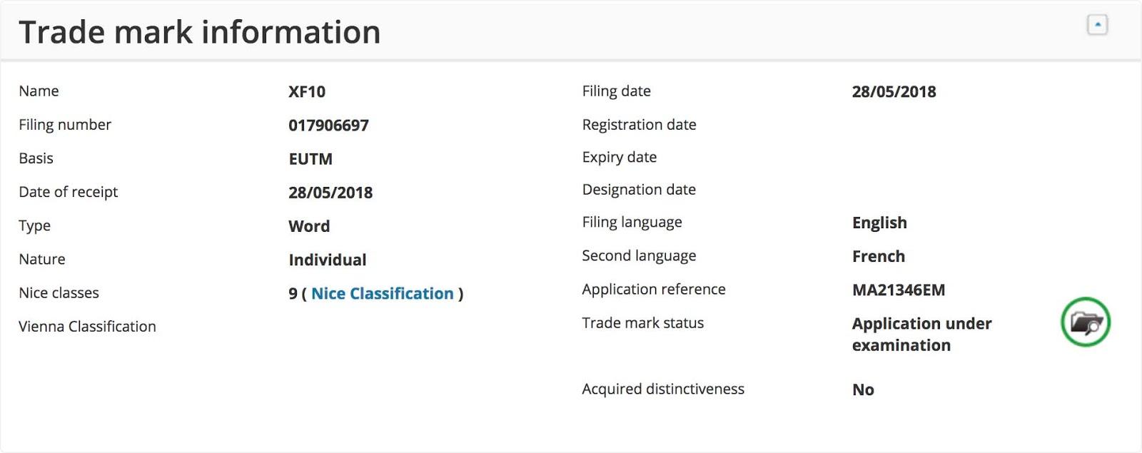 Форма регистрации торговой марки XF10 компании Fujifilm