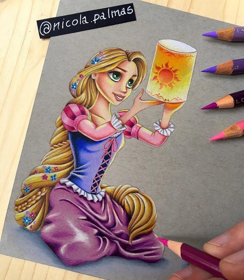 10-Rapunzel-Nicola-Palmas-Walt-Disney-Characters-Art-Illustrations-www-designstack-co