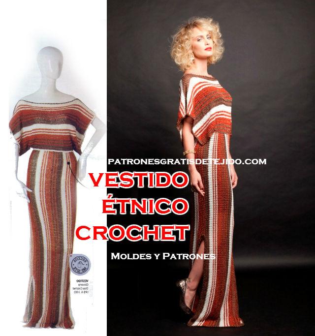 Vestido Étnico para Tejer al Crochet / patrones y moldes | Crochet y ...