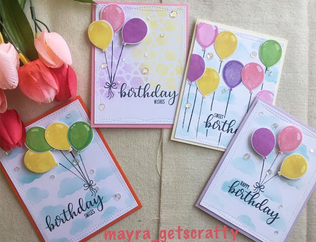 Sunny Studio Stamps: Birthday Balloons Customer Card Share by Mayra M