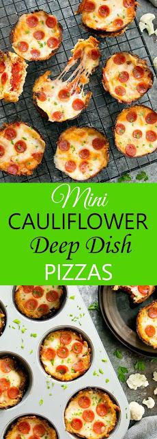MINI CAULIFLOWER DEEP DISH PIZZAS