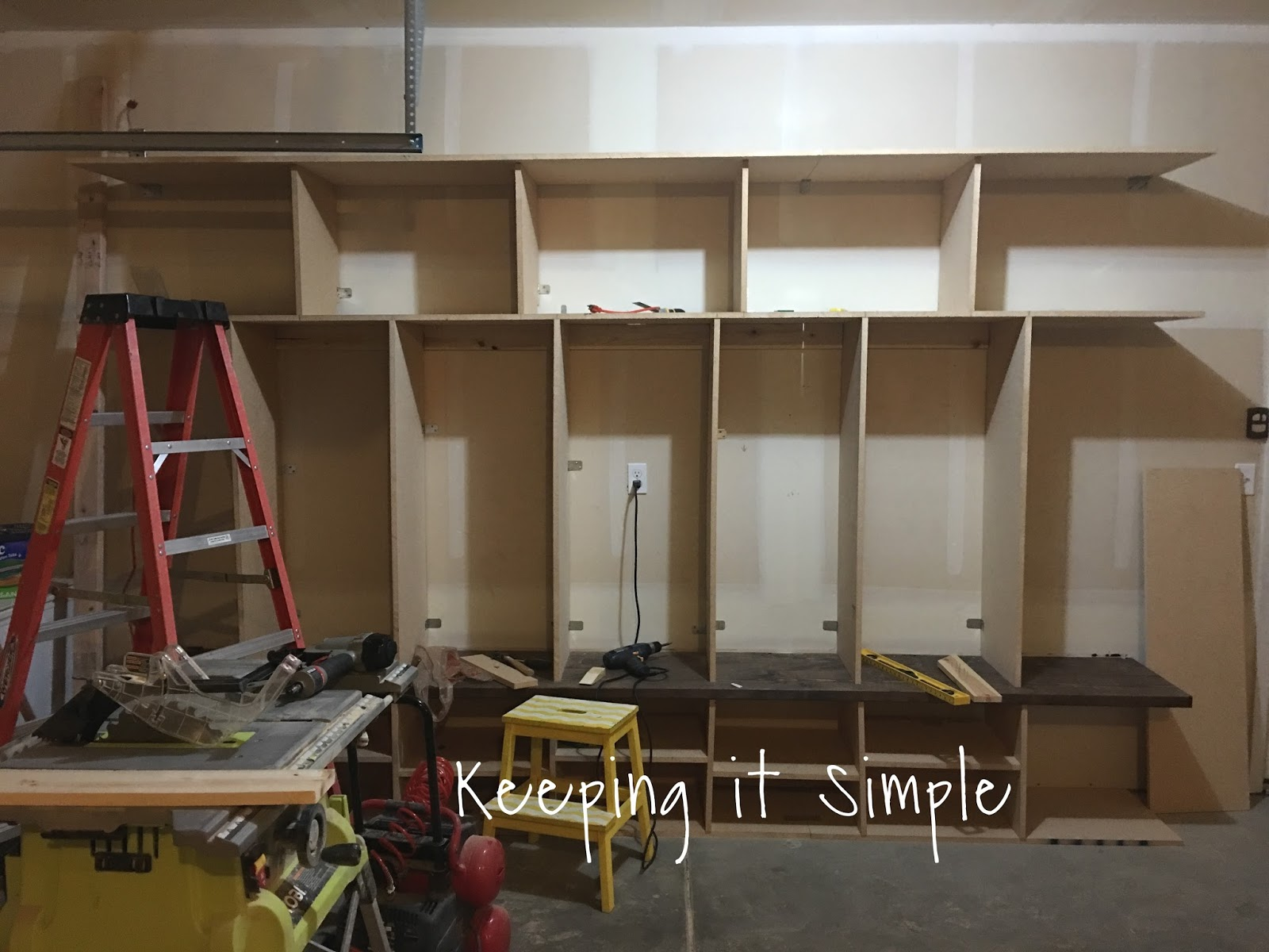 Keeping it Simple: DIY Garage Mudroom Lockers with Lots of Storage