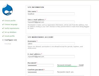 konfigurasi password untuk akases drupal