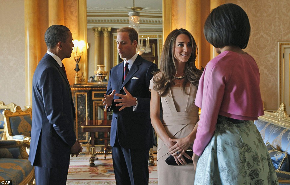 The Prince and the President: William greets Obama and Michelle at the Palace as tanned Kate takes to Royal duties like a natural