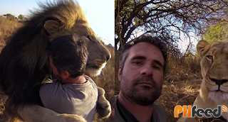 close friendship between a man and lions