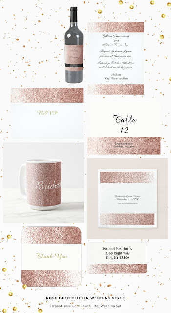 Rose Gold Faux Glitter Wedding Set