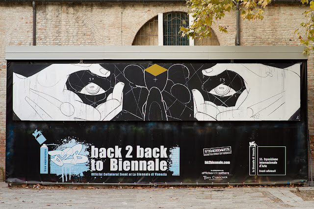 Street Artist Basik In Venice For Back 2 back to Biennale Street Art Festival.